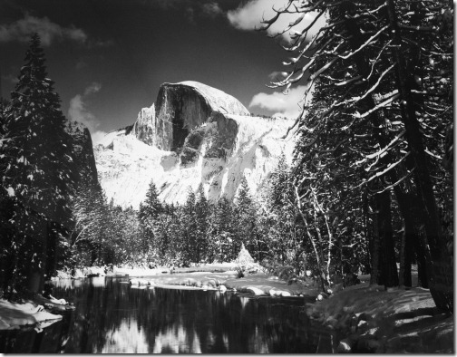 Ansel Adams_Half Dome, Merced River, Winter, Yosemite Valley