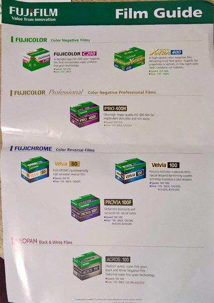 pellicole Fujifilm disponibili 2016